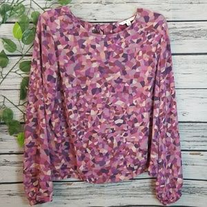 Cabo long sleeve flowy blouse top tie in back Lg